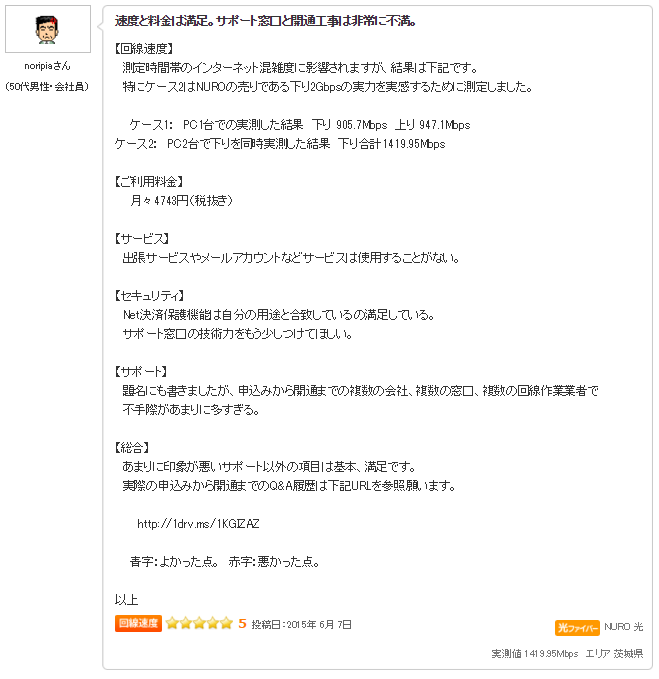 NURO光 評判10