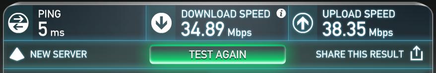 2.4Ghzでのスピードテスト