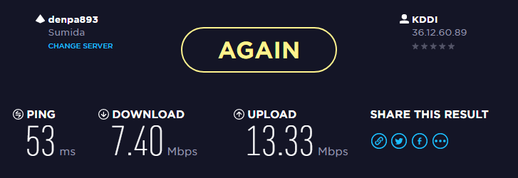 スピードテストの結果(Wi-Fi2.4Ghz)