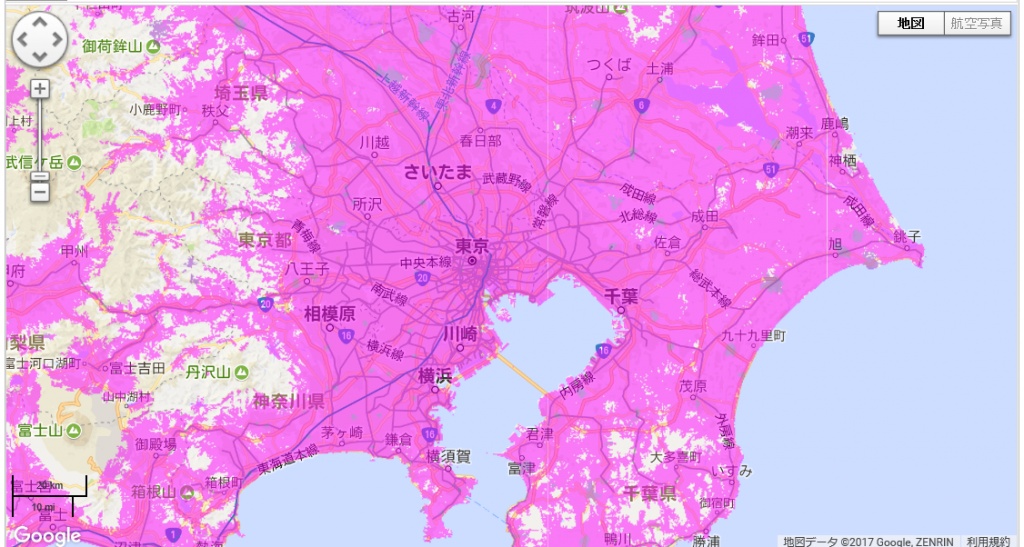 WiMAX2+の440Mbps対応エリア(東京都を中心)