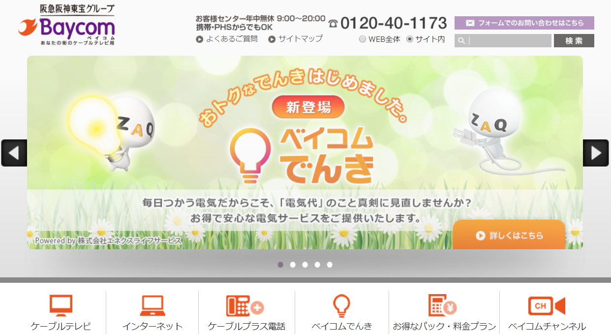 BaycomのWebサイト画像