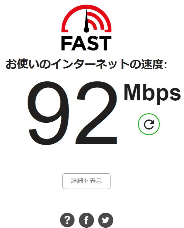 Fast.comスピード測定