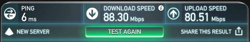 5Ghzでのスピードテスト