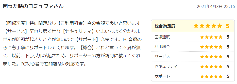 コミュファ光の口コミ・評判1