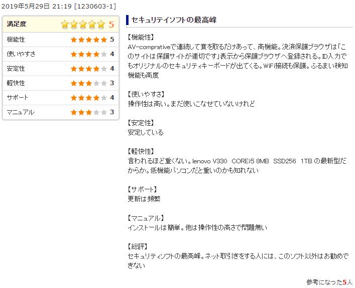 カスペルスキーセキュリティ 価格.com評判・口コミ