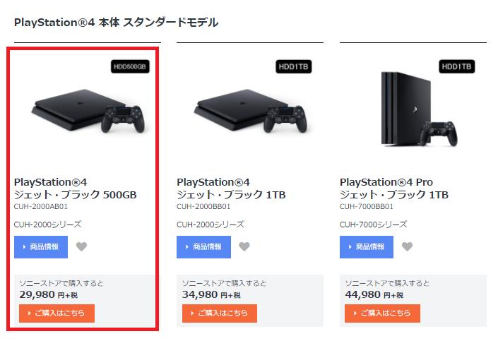 ソニーストア、PS4の商品ページ