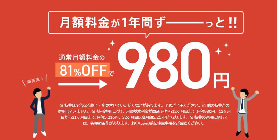 NURO光キャンペーン(1年間月額料金割引)