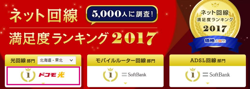価格.com「ネット回線満足度ランキング2017」結果