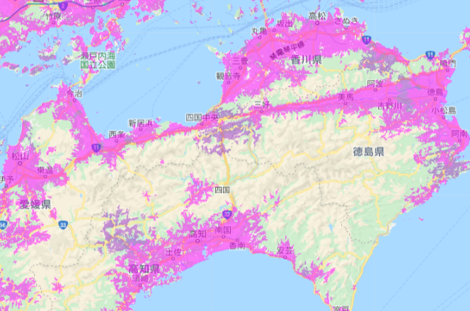 UQ WiMAX_エリア_四国