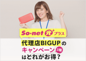 So-net光プラス代理店BIGUPはどのキャンペーンがお得?